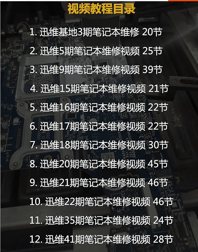 迅维网全套台式主板维修教程+笔记本电脑维修视频教程
